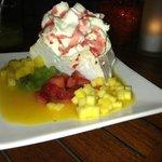 Pavlova, signature dessert.  it was good - different. i prefer chocolate :)