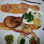 Grilled lobster,  shrimp,  scallops.