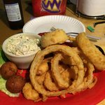 Shrimp dinner with onion rings and slaw.   Fantastic loved every bite