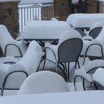 Accumulated snow on the hotel patio