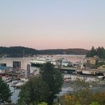 Your view of the Firday Harbor from the bluff/patio outside lower floor room 11.