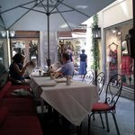 Outdoor seating at alley