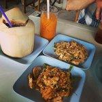 Clockwise: Thai iced tea, pad Thai, fried noodles, coconut shake.