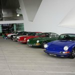 porsches outside museum