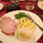 Pork Tenderloin, mashed potatoes, peas and noodles