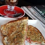 Lovely coffee and salami cream cheese toastie