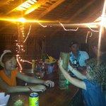 Playing jenga at Zaboy Bar in the back Village