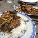 Ox with garlic and sticky rice.