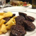 Morcilla de arroz (rice-stuffed blood sausage) with fried potatoes-- delicious!