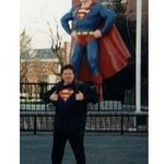 The author in front of the Metropolis Superman statue...