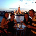 sunset drinks with a view of Wat Arun from The Deck