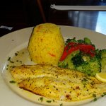 Lunch Special -- Flounder with Rice and Veggies