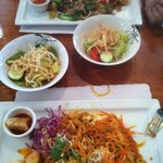 Pad Thai and drunken noodle w salads