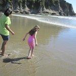 Wide smooth sandy beach.