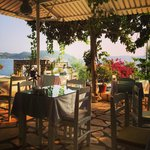 The breakfast is really good in a very nice trace with view over to the Greece island Midili.