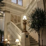 Grand marble staircase up to the lobby