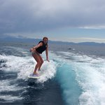 Wake surfing from Mastercraft x80! They provide all the equipment!
