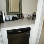 Coffee/tea area and fridge etc