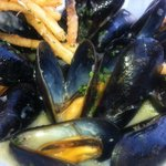 Garlic butter white wine sauce on fresh mussels----yum !