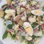 Lovely spinach, egg and bacon salad with homemade blue cheese dressing at the Magna Carta tea ro
