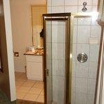 Shower in main bedroom, looking into toilet room