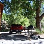 picnic area outside our cabin