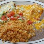 Chicken enchilada/shredded beef taco combination.