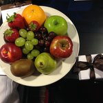 Surprise Plate of Fresh Fruit & Chocolate from the Hotel