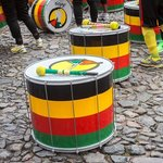 Olodum drums waiting to be played.