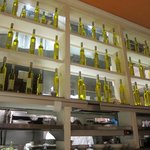 Olive oil bottles as decor on the ground floor - the second floor boasts wine