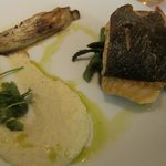 Salmon with braised endive, celery puree and asparagus.