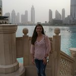 My wife outside of the mall near the Burj Khalifa.