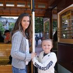 My wife and son on the cable car.