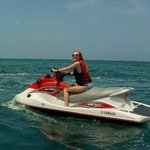 The smile says it all - first time on a Jet-ski