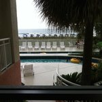 View from handicap accessible room next to the lobby. No balcony, loud, & no privacy.