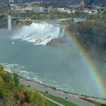 Rainbow bridge with a rainbow...from our room in Canada.