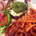 Pesto Gorgonzola Burger with Sweet Potato Fries