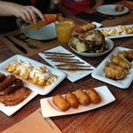 Potatoes, Croquettes, Anchovies, Chicken Wings and Anchovies