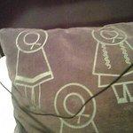 Almohadon de corderoy impreso.