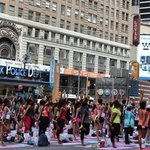 We chanced upon a yoga lesson in Times Square