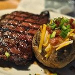 """Every FRIDAY NIGHT is """"STEAK NITE!""""  (Our RIBEYE with LOADED BAKER!)"""
