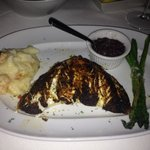 White salmon - special for the evening with lobster mac and cheese and garlic asparagus.