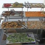 Breakfast buffet line