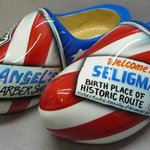 Custom painted wooden shoes for Angel