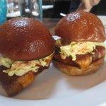 Barbeque pork belly sandwiches