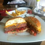 Wagyu Cheese & bacon Burger - the chips arrived nice even for Room Service!