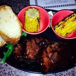 Boneless BBQ beef ribs with garlic bread!!  Red rock BBQ !!! We shall be back again!
