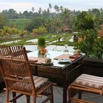Wapa di Umi restaurant overlooking rice paddies and surrounding district