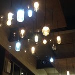 The light shades are varying glass jars - very cool!