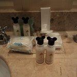 Cute little shampoo bottles in bathroom